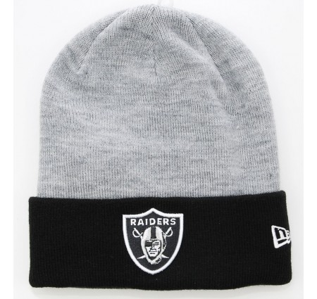 NEW-ERA-Muetze-Oakland-RAIDERS-Grau-Schwarz-Cuff-Badge-NFL-Beanie
